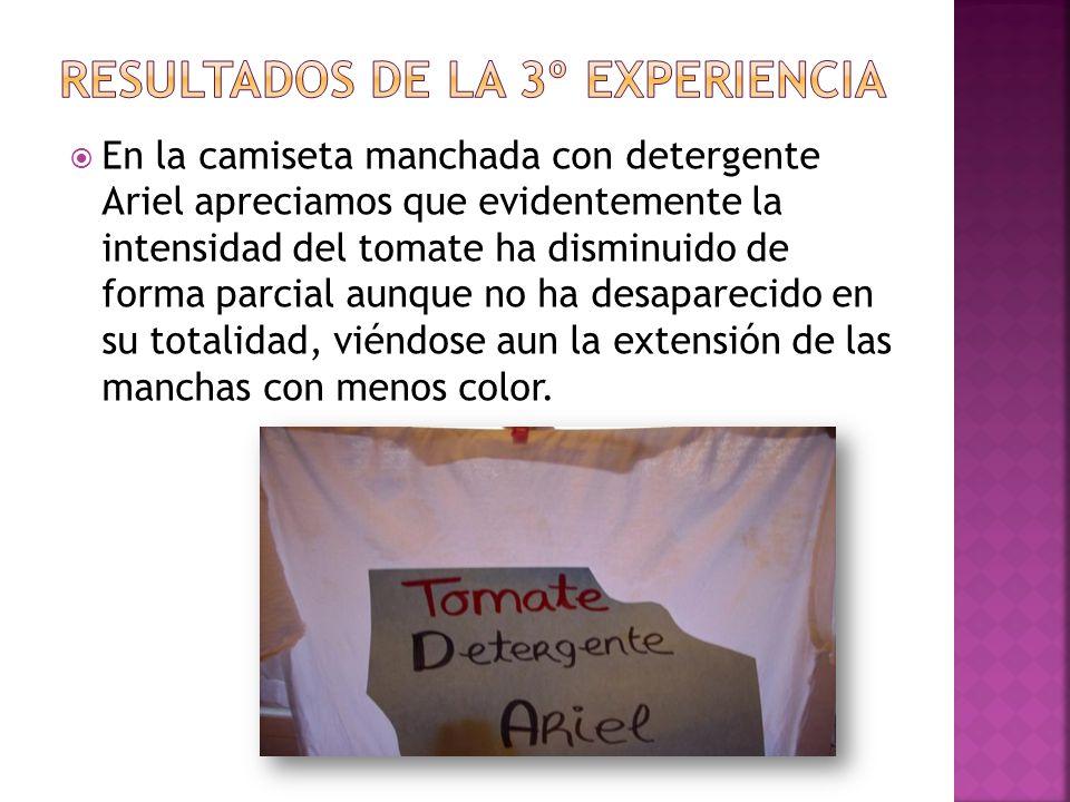 En la camiseta manchada con detergente Ariel apreciamos que evidentemente la intensidad del tomate ha disminuido de forma parcial aunque no ha desapar