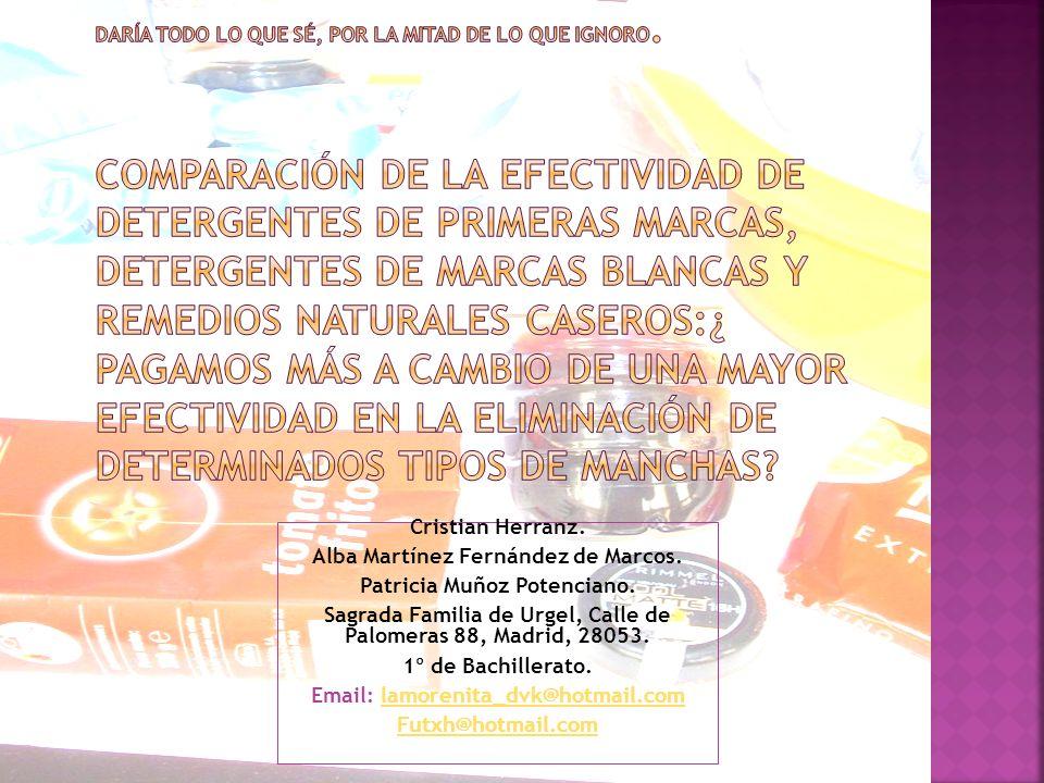 Cristian Herranz. Alba Martínez Fernández de Marcos. Patricia Muñoz Potenciano. Sagrada Familia de Urgel, Calle de Palomeras 88, Madrid, 28053. 1º de