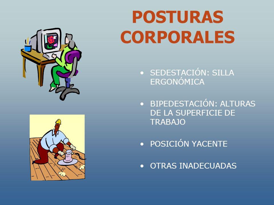 POSTURAS CORPORALES SEDESTACIÓN: SILLA ERGONÓMICA BIPEDESTACIÓN: ALTURAS DE LA SUPERFICIE DE TRABAJO POSICIÓN YACENTE OTRAS INADECUADAS