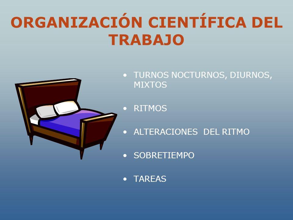 ORGANIZACIÓN CIENTÍFICA DEL TRABAJO TURNOS NOCTURNOS, DIURNOS, MIXTOS RITMOS ALTERACIONES DEL RITMO SOBRETIEMPO TAREAS