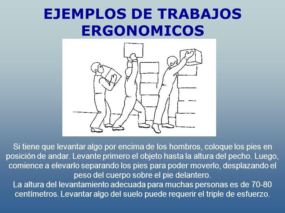EJEMPLOS DE TRABAJOS ERGONOMICOS Si tiene que levantar algo por encima de los hombros, coloque los pies en posición de andar. Levante primero el objet