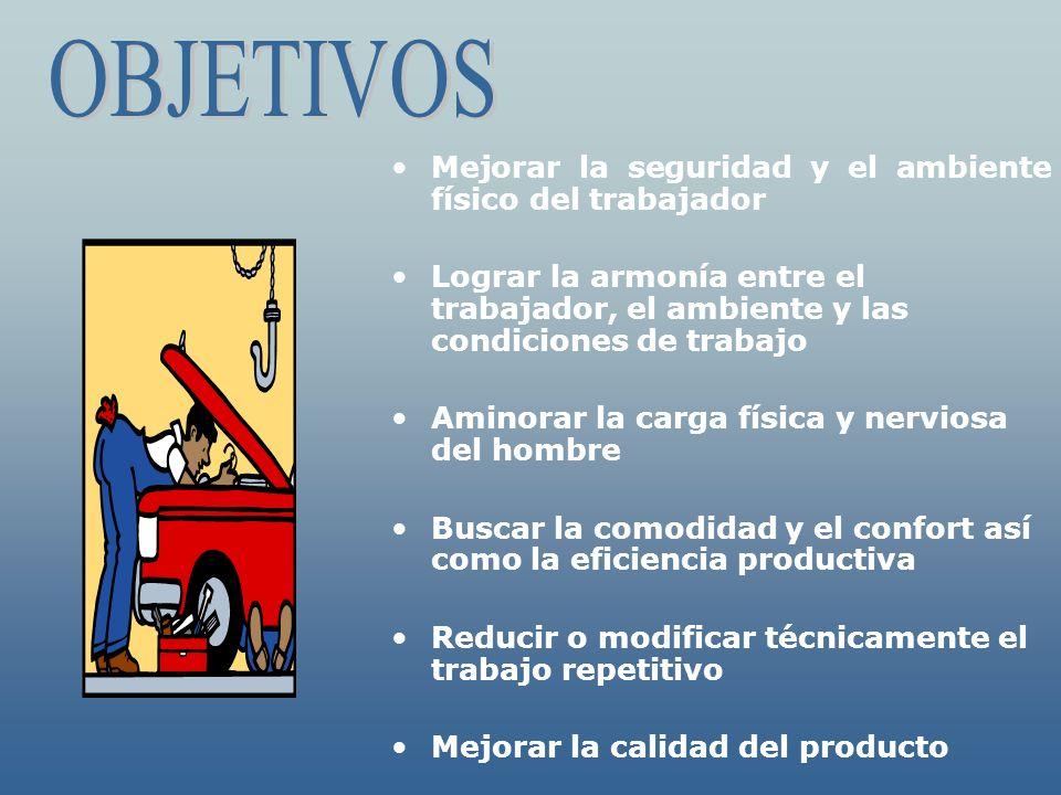 Mejorar la seguridad y el ambiente físico del trabajador Lograr la armonía entre el trabajador, el ambiente y las condiciones de trabajo Aminorar la c