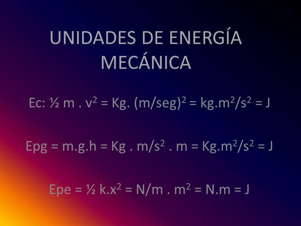 UNIDADES DE ENERGÍA MECÁNICA Ec: ½ m. v 2 = Kg. (m/seg) 2 = kg.m 2 /s 2 = J Epg = m.g.h = Kg. m/s 2. m = Kg.m 2 /s 2 = J Epe = ½ k.x 2 = N/m. m 2 = N.