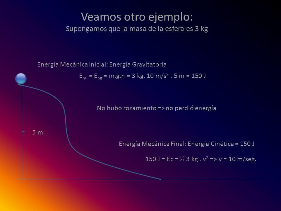 Veamos otro ejemplo: Supongamos que la masa de la esfera es 3 kg Energía Mecánica Inicial: Energía Gravitatoria E mi = E pg = m.g.h = 3 kg. 10 m/s 2.