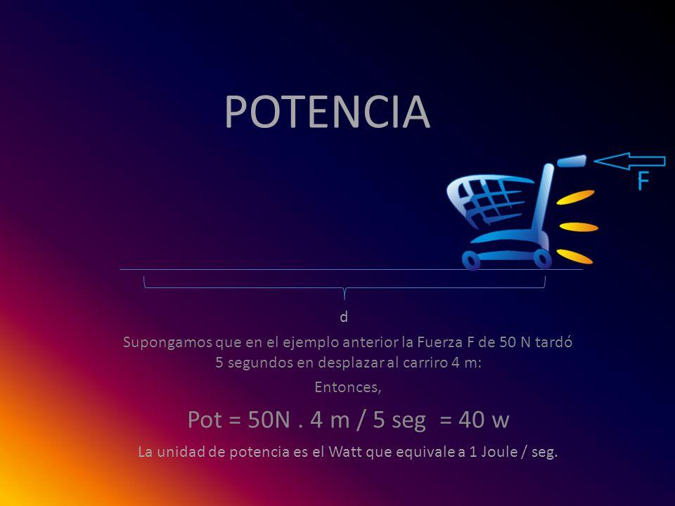 POTENCIA Supongamos que en el ejemplo anterior la Fuerza F de 50 N tardó 5 segundos en desplazar al carriro 4 m: Entonces, Pot = 50N. 4 m / 5 seg = 40
