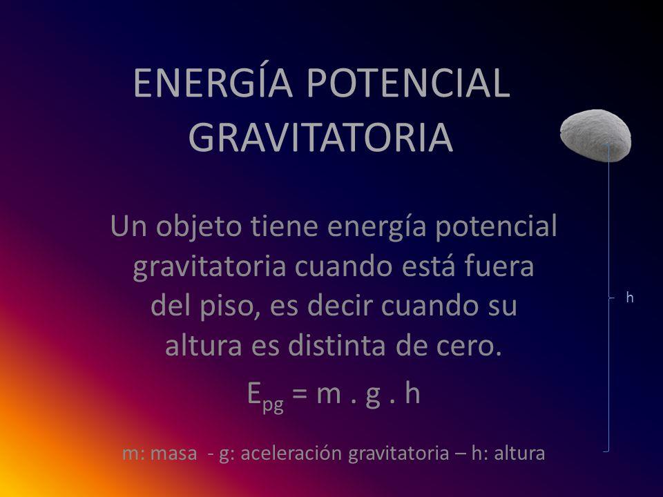 ENERGÍA POTENCIAL GRAVITATORIA Un objeto tiene energía potencial gravitatoria cuando está fuera del piso, es decir cuando su altura es distinta de cer