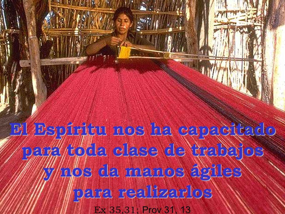 El Espíritu nos ha capacitado para toda clase de trabajos y nos da manos ágiles para realizarlos Ex 35,31; Prov 31, 13