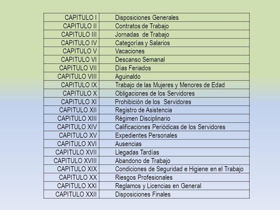 CAPITULO IDisposiciones Generales CAPITULO IIContratos de Trabajo CAPITULO IIIJornadas de Trabajo CAPITULO IVCategorías y Salarios CAPITULO VVacacione