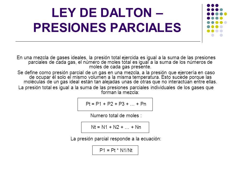 LEY DE DALTON – PRESIONES PARCIALES En una mezcla de gases ideales, la presión total ejercida es igual a la suma de las presiones parciales de cada ga