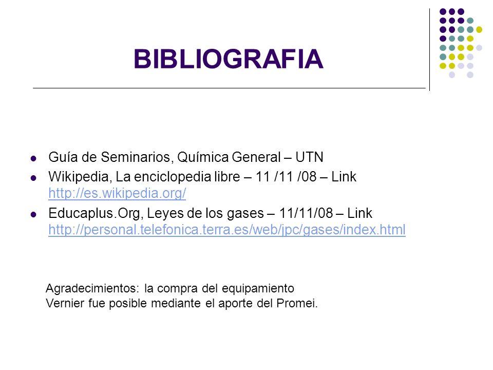 BIBLIOGRAFIA Guía de Seminarios, Química General – UTN Wikipedia, La enciclopedia libre – 11 /11 /08 – Link http://es.wikipedia.org/ http://es.wikiped