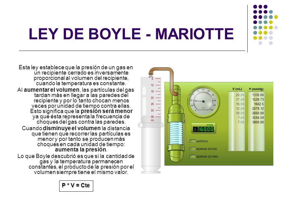 LEY DE BOYLE - MARIOTTE Esta ley establece que la presión de un gas en un recipiente cerrado es inversamente proporcional al volumen del recipiente, c