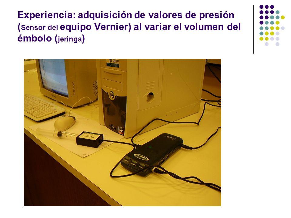 Experiencia: adquisición de valores de presión ( Sensor del equipo Vernier) al variar el volumen del émbolo ( jeringa )