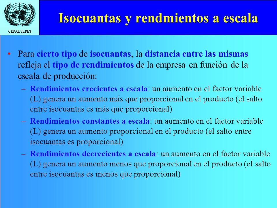 CEPAL/ILPES Isocuantas y rendmientos a escala Para cierto tipo de isocuantas, la distancia entre las mismas refleja el tipo de rendimientos de la empr