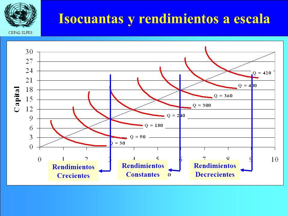 CEPAL/ILPES Isocuantas y rendimientos a escala Rendimientos Crecientes Rendimientos Constantes Rendimientos Decrecientes