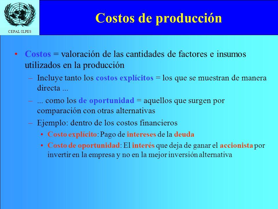 CEPAL/ILPES Costos de producción Costos = valoración de las cantidades de factores e insumos utilizados en la producción –Incluye tanto los costos exp