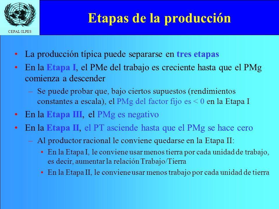 CEPAL/ILPES Etapas de la producción La producción típica puede separarse en tres etapas En la Etapa I, el PMe del trabajo es creciente hasta que el PM