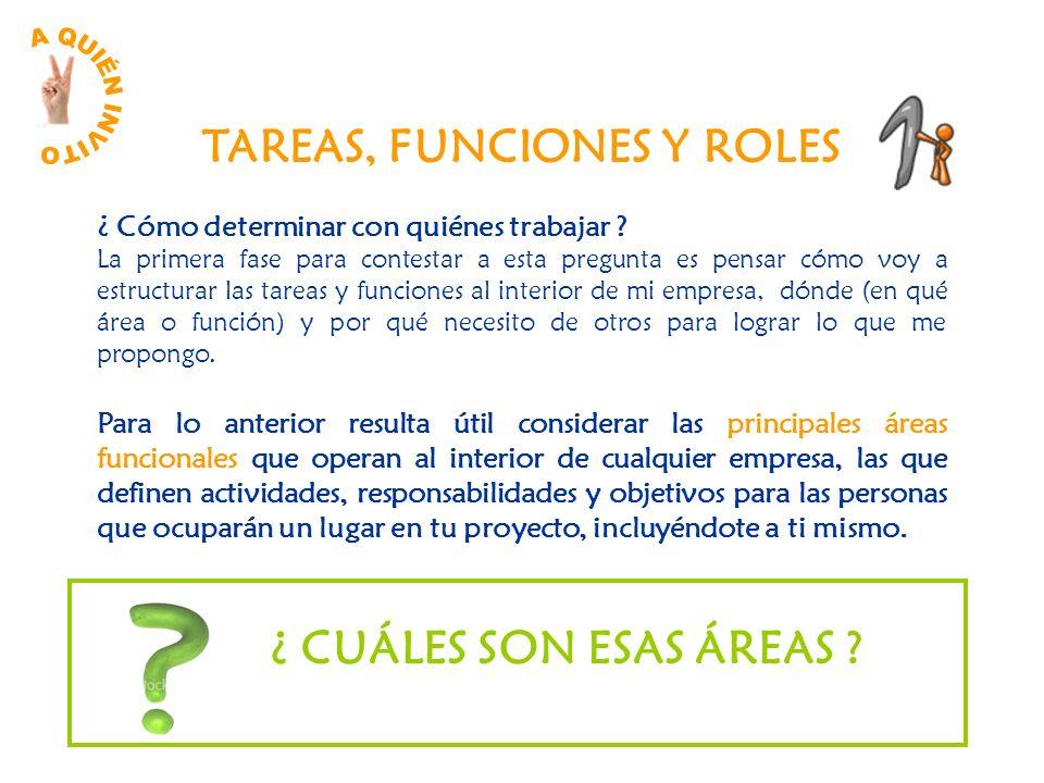 ¿ Cómo determinar con quiénes trabajar ? La primera fase para contestar a esta pregunta es pensar cómo voy a estructurar las tareas y funciones al int