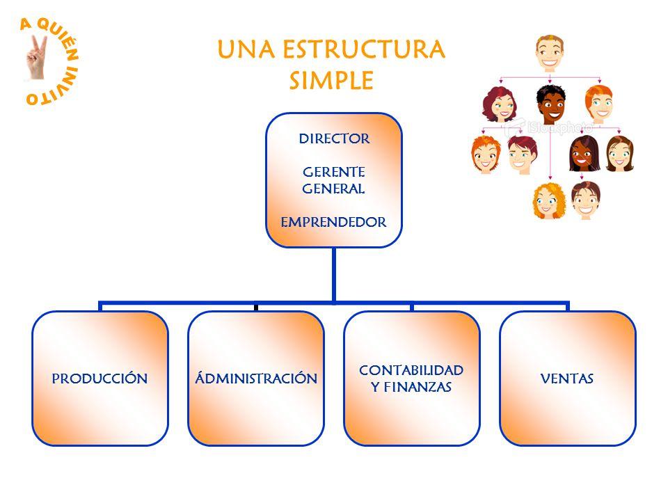 DIRECTOR GERENTE GENERAL EMPRENDEDOR PRODUCCIÓNÁDMINISTRACIÓN CONTABILIDAD Y FINANZAS VENTAS UNA ESTRUCTURA SIMPLE