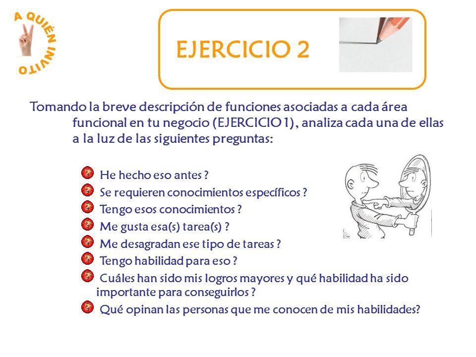 EJERCICIO 2 Tomando la breve descripción de funciones asociadas a cada área funcional en tu negocio (EJERCICIO 1), analiza cada una de ellas a la luz