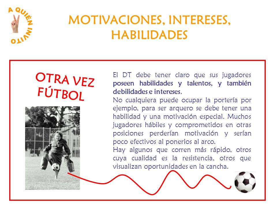 MOTIVACIONES, INTERESES, HABILIDADES El DT debe tener claro que sus jugadores poseen habilidades y talentos, y también debilidades e intereses. No cua