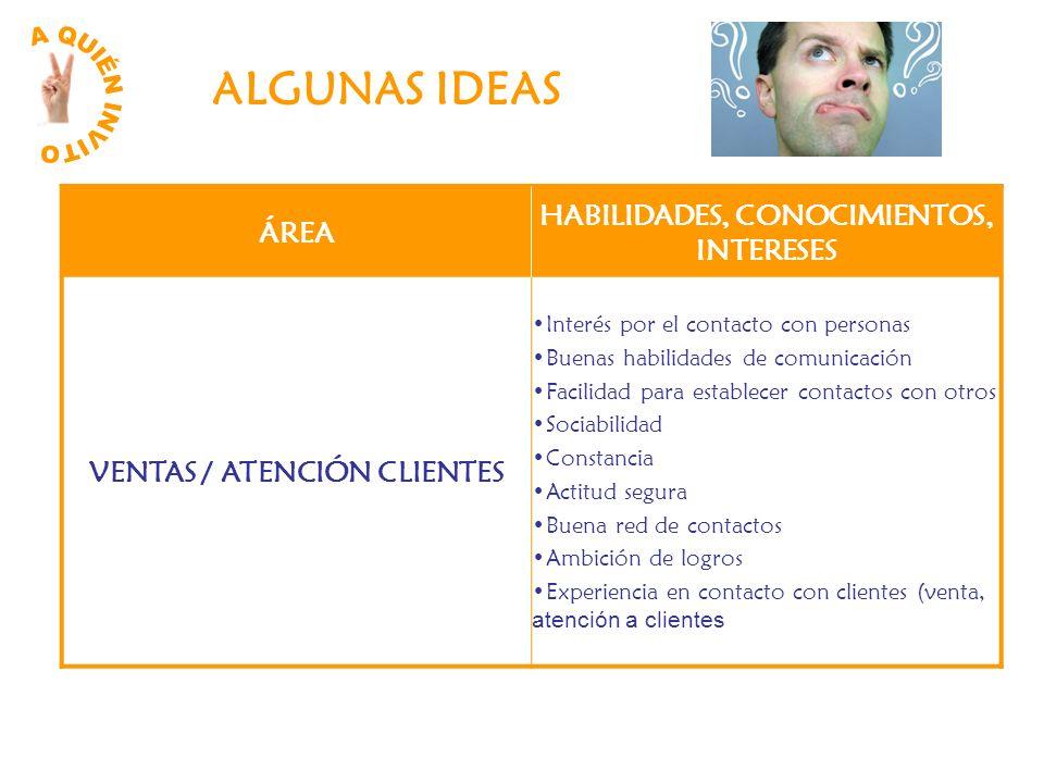 ALGUNAS IDEAS ÁREA HABILIDADES, CONOCIMIENTOS, INTERESES VENTAS / ATENCIÓN CLIENTES Interés por el contacto con personas Buenas habilidades de comunic