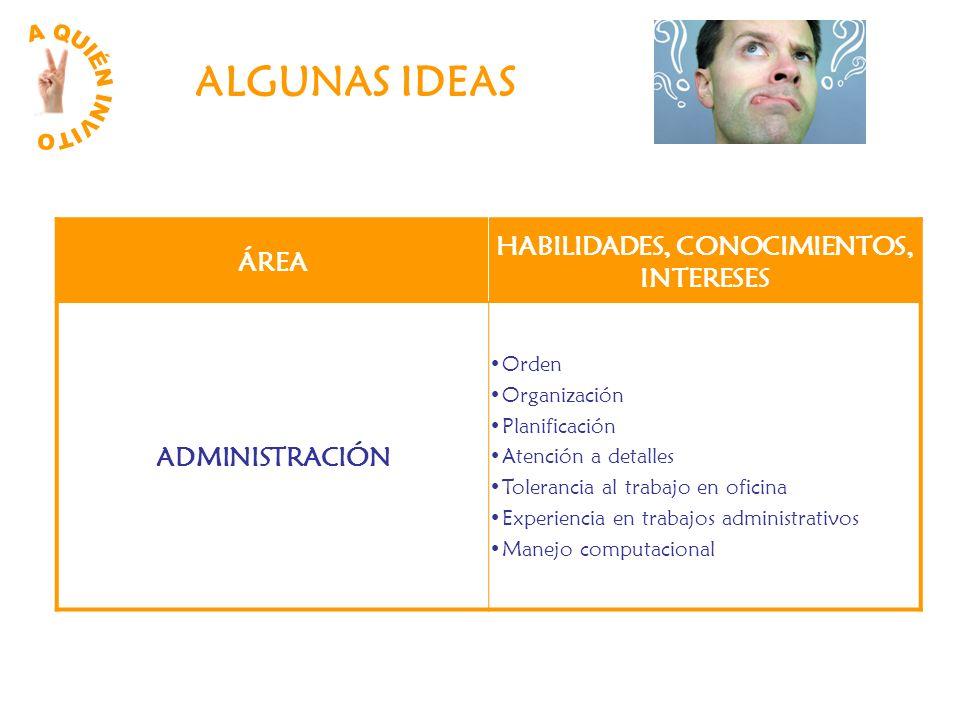 ALGUNAS IDEAS ÁREA HABILIDADES, CONOCIMIENTOS, INTERESES ADMINISTRACIÓN Orden Organización Planificación Atención a detalles Tolerancia al trabajo en