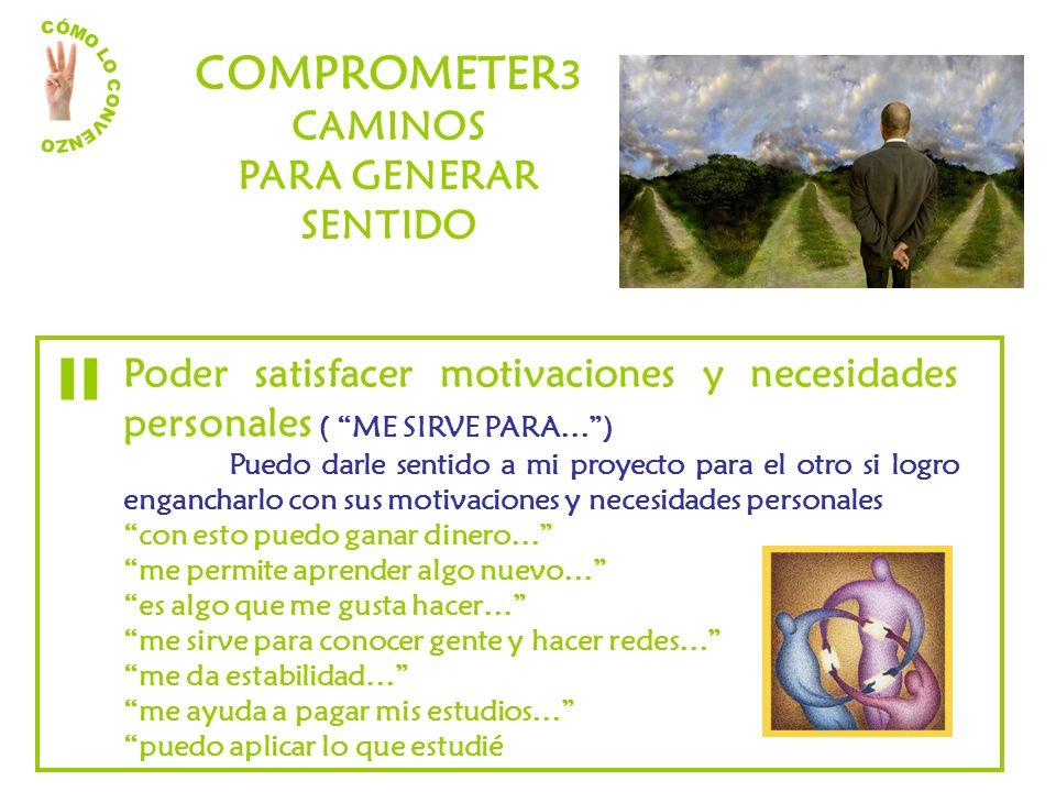 COMPROMETER 3 CAMINOS PARA GENERAR SENTIDO Poder satisfacer motivaciones y necesidades personales ( ME SIRVE PARA…) Puedo darle sentido a mi proyecto