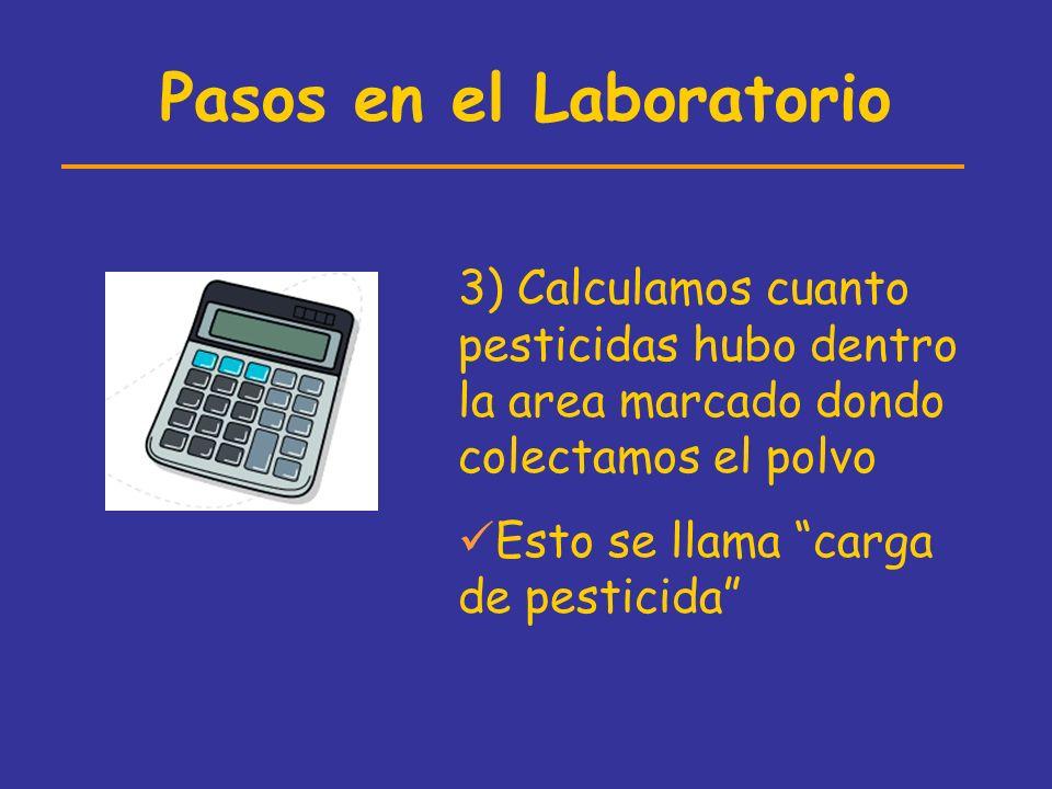 Pasos en el Laboratorio 3) Calculamos cuanto pesticidas hubo dentro la area marcado dondo colectamos el polvo Esto se llama carga de pesticida