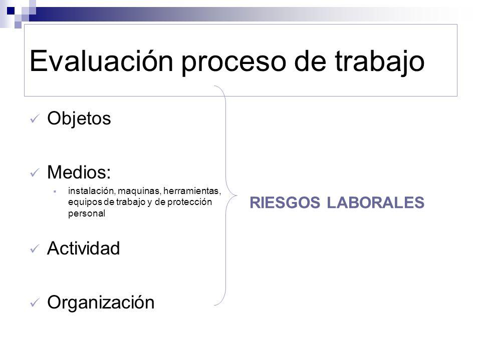 Evaluación proceso de trabajo Objetos Medios: instalación, maquinas, herramientas, equipos de trabajo y de protección personal Actividad Organización