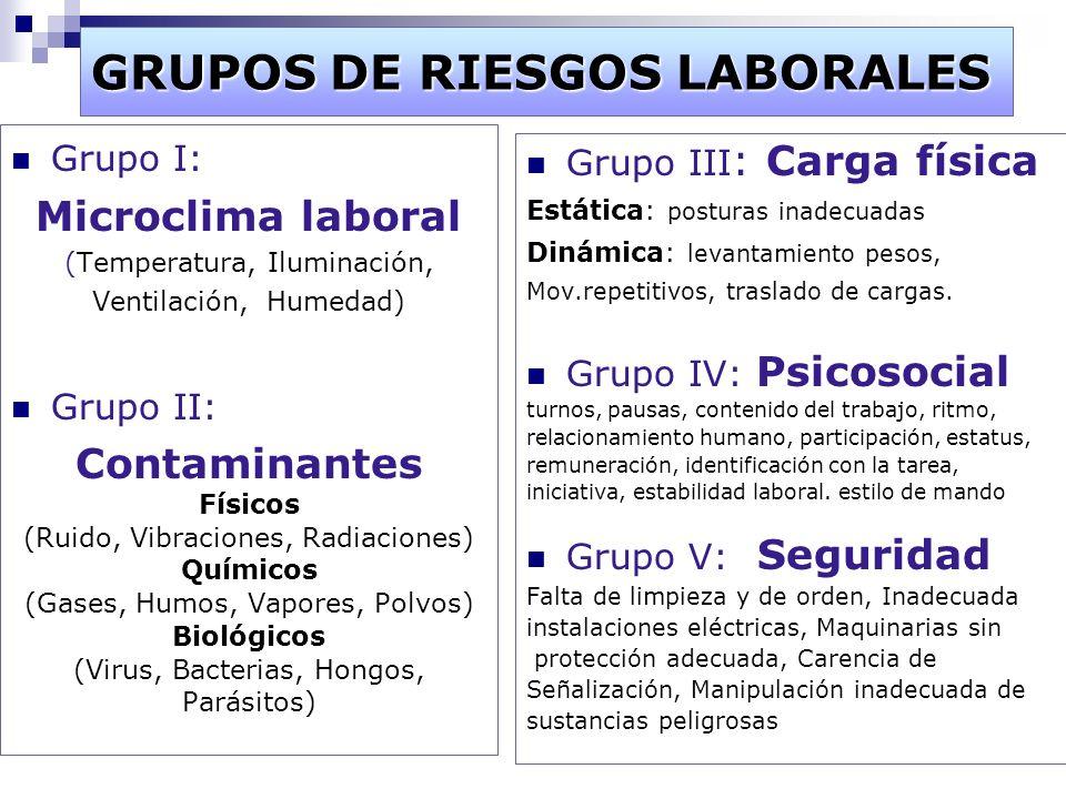 GRUPOS DE RIESGOS LABORALES Grupo I: Microclima laboral (Temperatura, Iluminación, Ventilación, Humedad) Grupo II: Contaminantes Físicos (Ruido, Vibra