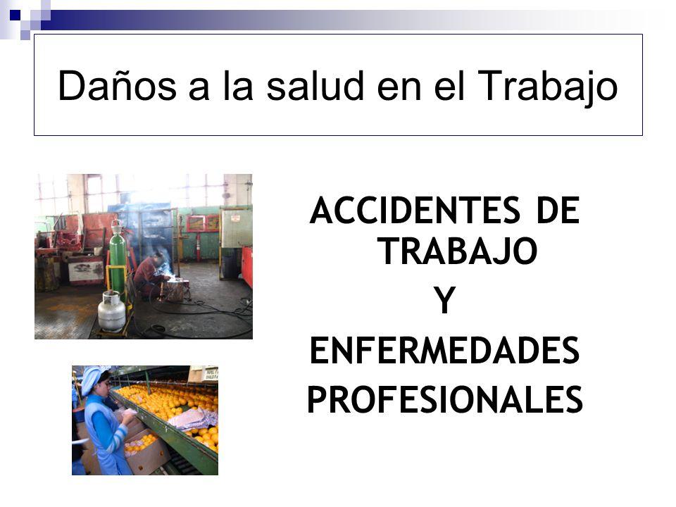 Daños a la salud en el Trabajo ACCIDENTES DE TRABAJO Y ENFERMEDADES PROFESIONALES