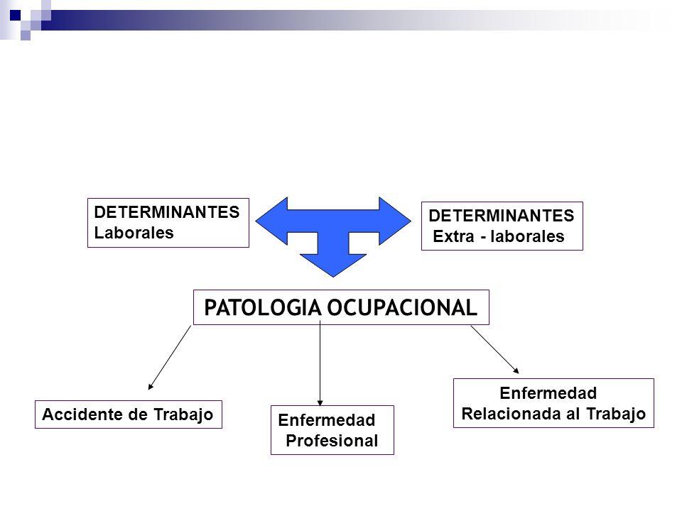 DETERMINANTES Laborales DETERMINANTES Extra - laborales PATOLOGIA OCUPACIONAL Accidente de Trabajo Enfermedad Profesional Enfermedad Relacionada al Tr