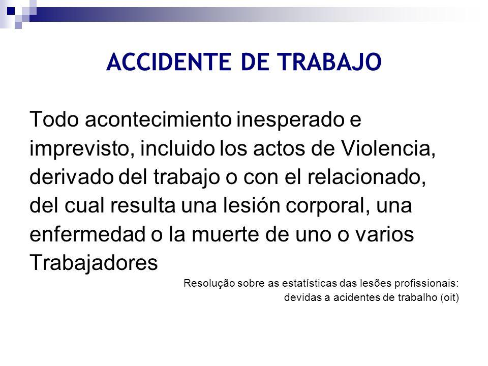 ACCIDENTE DE TRABAJO Todo acontecimiento inesperado e imprevisto, incluido los actos de Violencia, derivado del trabajo o con el relacionado, del cual
