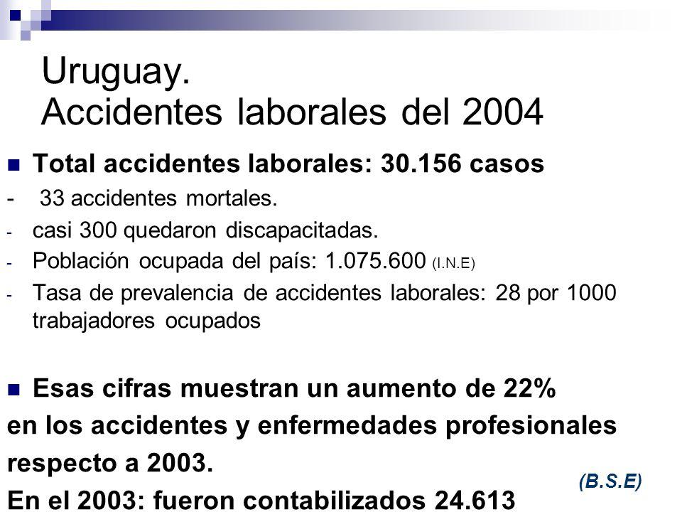 Uruguay. Accidentes laborales del 2004 Total accidentes laborales: 30.156 casos - 33 accidentes mortales. - casi 300 quedaron discapacitadas. - Poblac