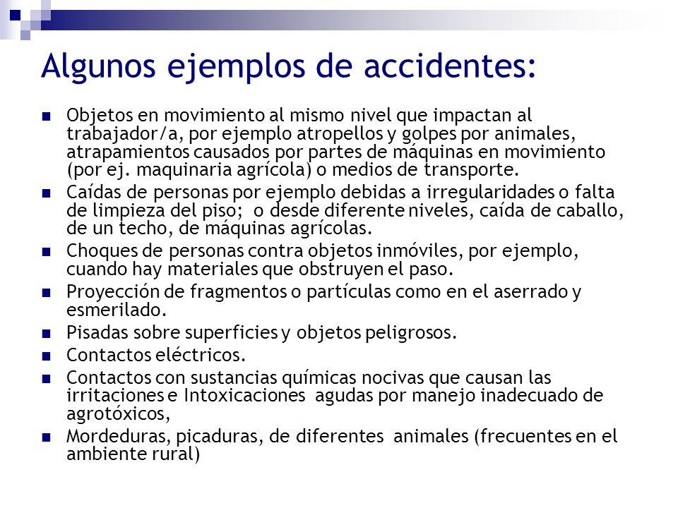 Algunos ejemplos de accidentes: Objetos en movimiento al mismo nivel que impactan al trabajador/a, por ejemplo atropellos y golpes por animales, atrap