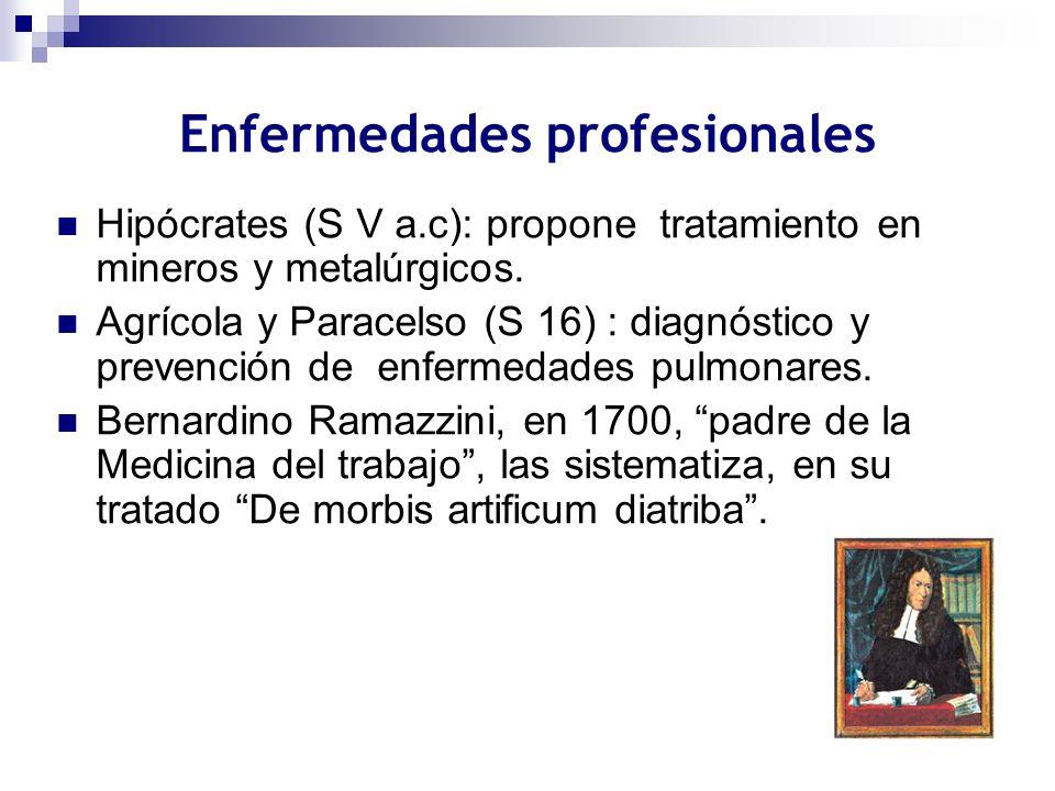 Enfermedades profesionales Hipócrates (S V a.c): propone tratamiento en mineros y metalúrgicos. Agrícola y Paracelso (S 16) : diagnóstico y prevención