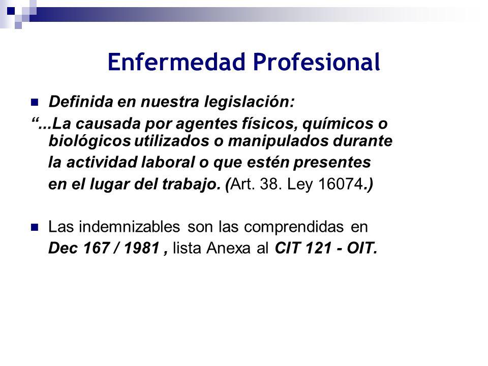 Enfermedad Profesional Definida en nuestra legislación:...La causada por agentes físicos, químicos o biológicos utilizados o manipulados durante la ac