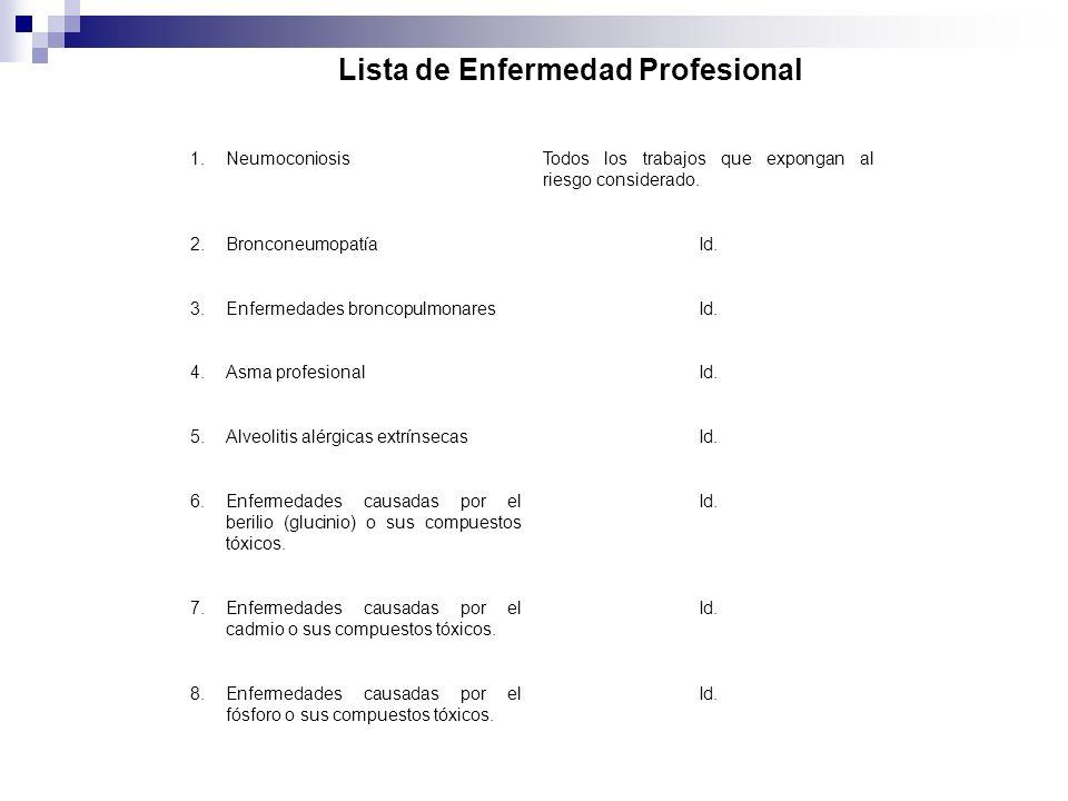 Lista de Enfermedad Profesional 1.NeumoconiosisTodos los trabajos que expongan al riesgo considerado. 2.BronconeumopatíaId. 3.Enfermedades broncopulmo