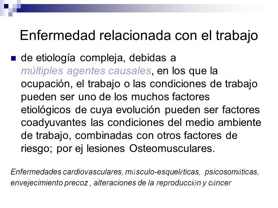 Enfermedad relacionada con el trabajo de etiología compleja, debidas a múltiples agentes causales, en los que la ocupación, el trabajo o las condicion