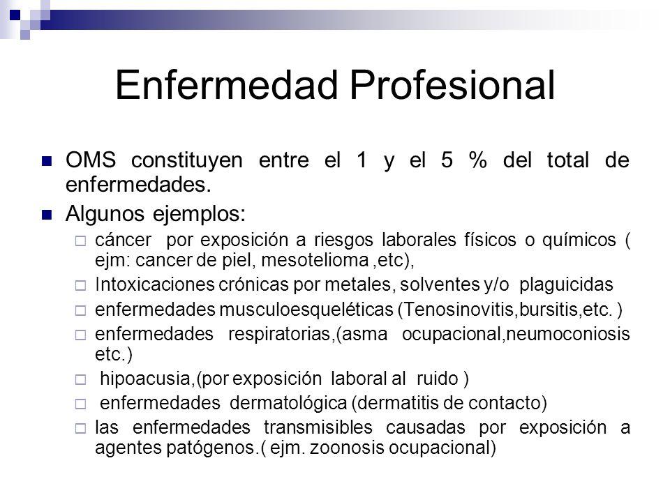 Enfermedad Profesional OMS constituyen entre el 1 y el 5 % del total de enfermedades. Algunos ejemplos: cáncer por exposición a riesgos laborales físi