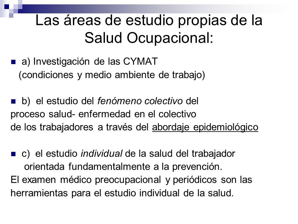 Las áreas de estudio propias de la Salud Ocupacional: a) Investigación de las CYMAT (condiciones y medio ambiente de trabajo) b) el estudio del fenóme