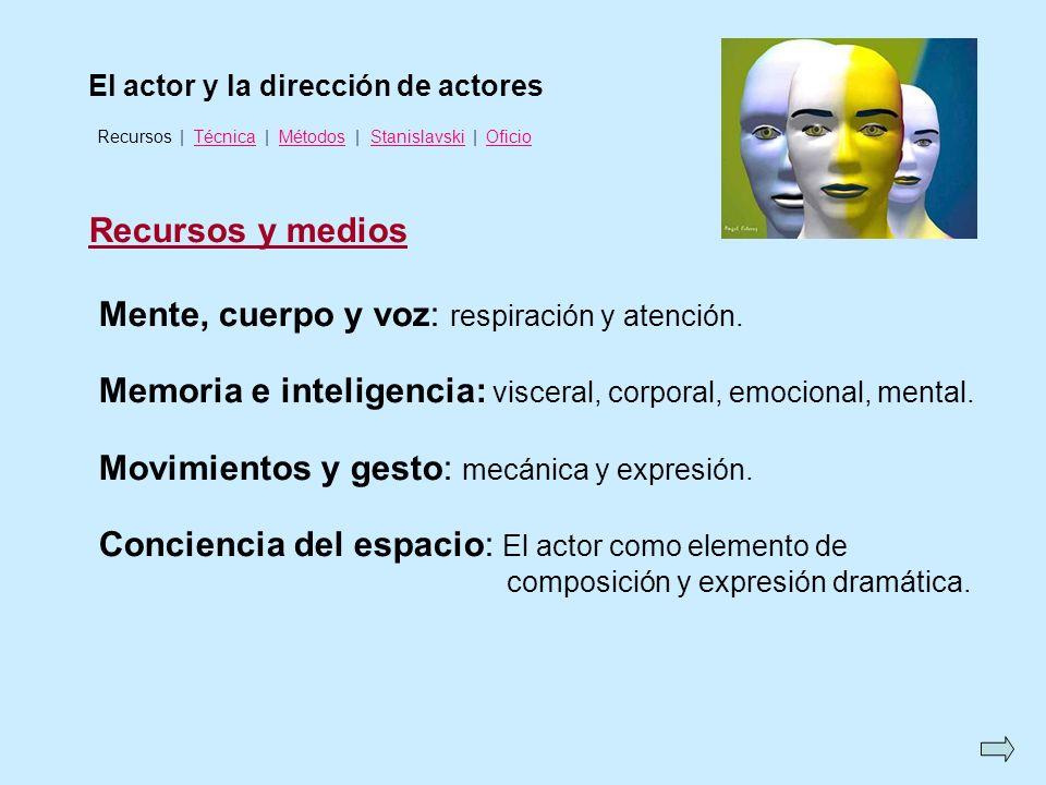 El actor y la dirección de actores Recursos y medios Mente, cuerpo y voz: respiración y atención. Memoria e inteligencia: visceral, corporal, emociona