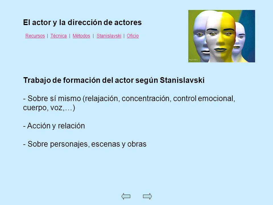 Trabajo de formación del actor según Stanislavski - Sobre sí mismo (relajación, concentración, control emocional, cuerpo, voz,…) - Acción y relación -