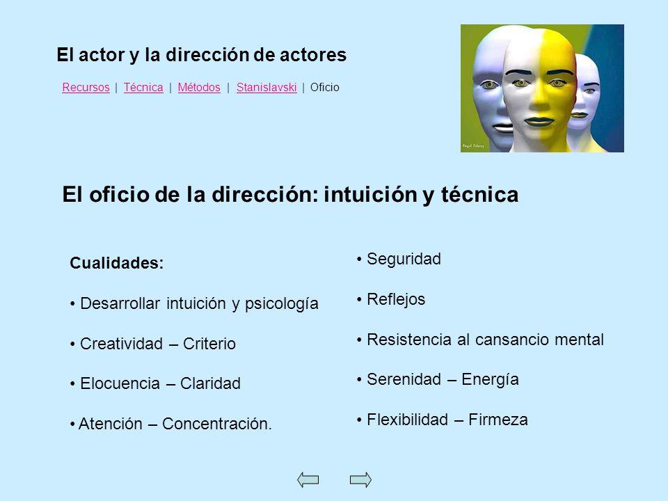 El oficio de la dirección: intuición y técnica El actor y la dirección de actores RecursosRecursos | Técnica | Métodos | Stanislavski | OficioTécnicaM