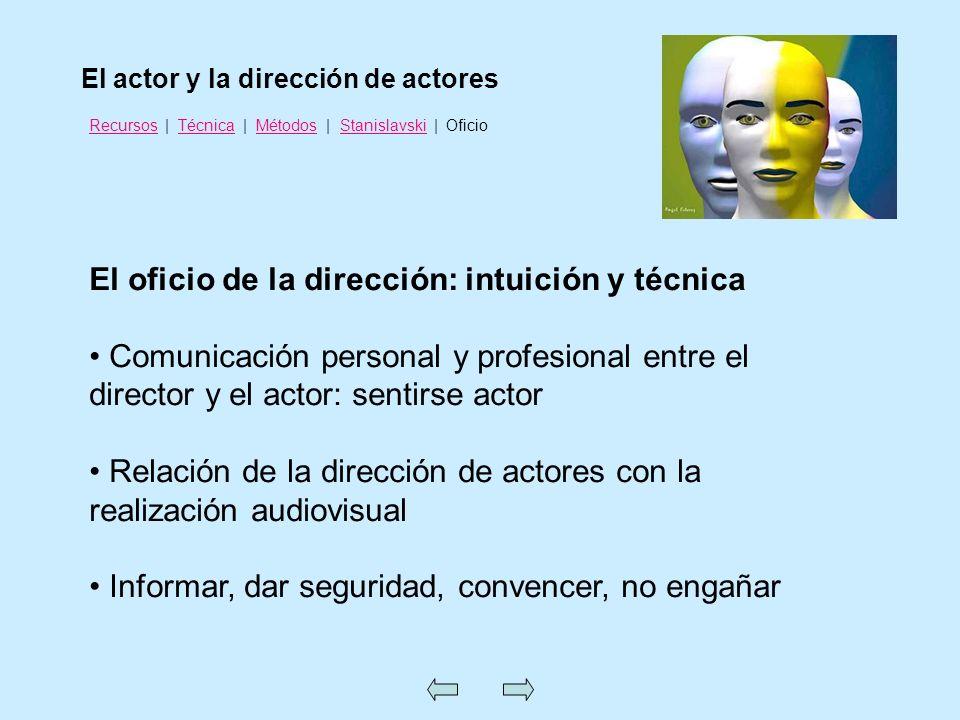 El oficio de la dirección: intuición y técnica Comunicación personal y profesional entre el director y el actor: sentirse actor Relación de la direcci