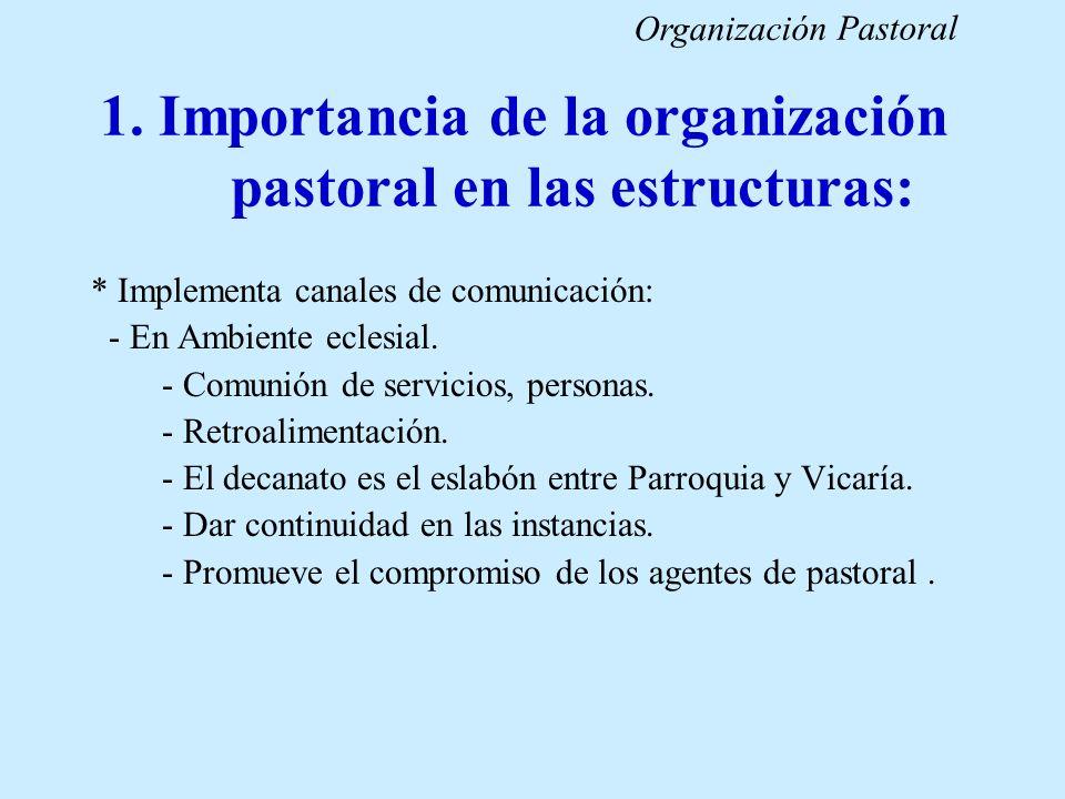 1. Importancia de la organización pastoral en las estructuras: * Implementa canales de comunicación: - En Ambiente eclesial. - Comunión de servicios,