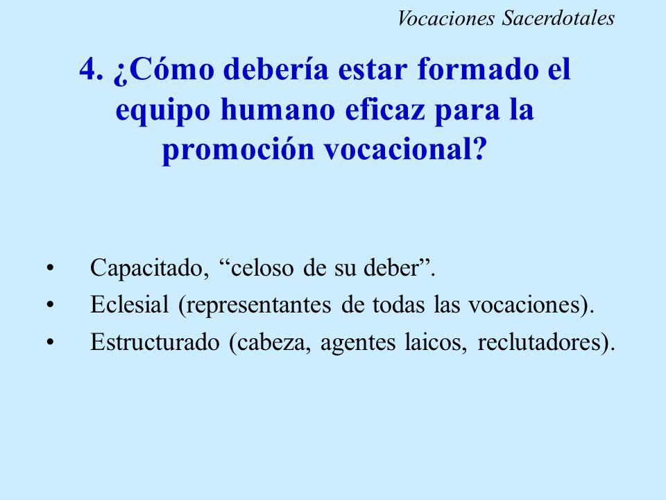 4. ¿Cómo debería estar formado el equipo humano eficaz para la promoción vocacional? Capacitado, celoso de su deber. Eclesial (representantes de todas