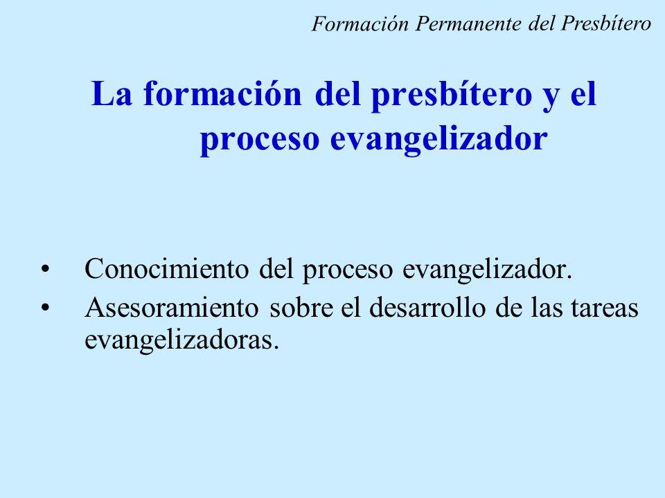 La formación del presbítero y el proceso evangelizador Conocimiento del proceso evangelizador. Asesoramiento sobre el desarrollo de las tareas evangel