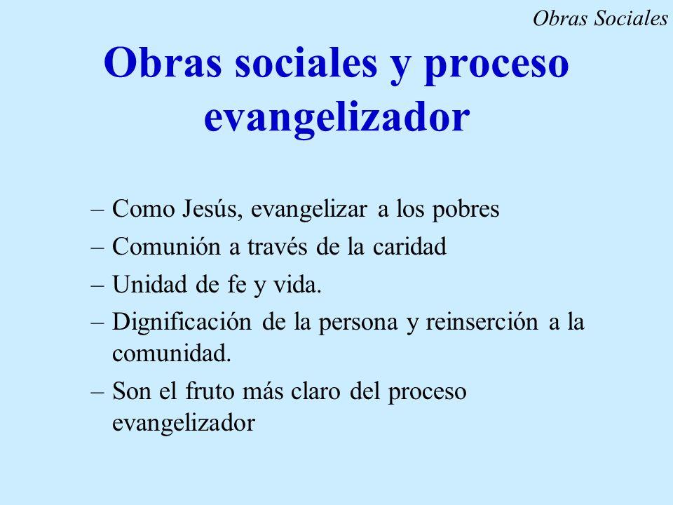 Obras sociales y proceso evangelizador –Como Jesús, evangelizar a los pobres –Comunión a través de la caridad –Unidad de fe y vida. –Dignificación de