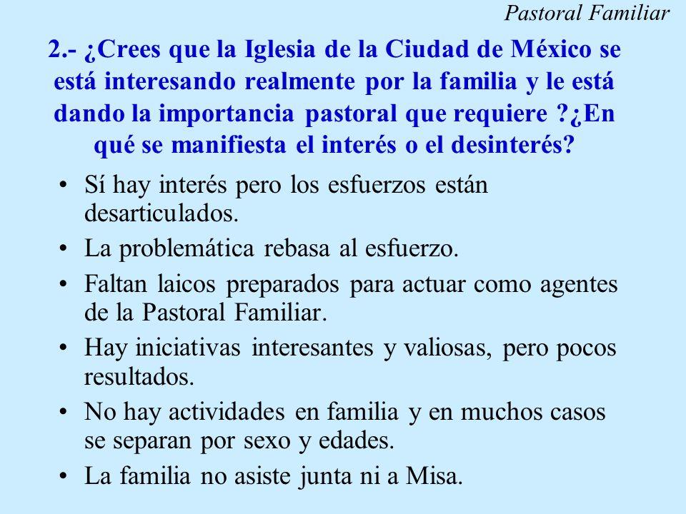 2.- ¿Crees que la Iglesia de la Ciudad de México se está interesando realmente por la familia y le está dando la importancia pastoral que requiere ?¿E